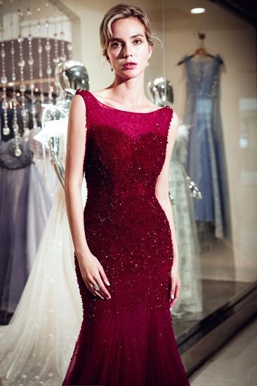 BMbridal Gorgeous Mermaid Sleeveless Prom Dresses Sequined Tulle Burgundy Formal Dresses Online_7