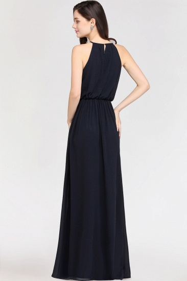 Modest High-Neck Halter Chiffon Junior Bridesmaid Dress Cheap_3