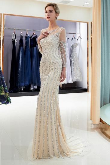 BMbridal Gorgeous Mermaid Jewel Long Prom Dresses Long Sleeves Evening Dresses with Rhinestones_11