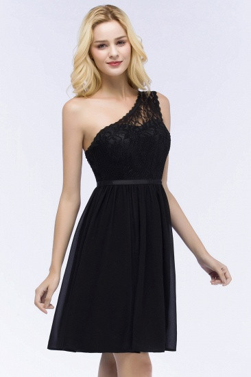 Lovely Lace Black One-shoulder Short Junior Bridesmaid Dresses Online_6
