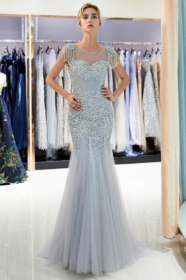 Elegant Mermaid Sleeveless Prom Dresses Flower Tulle Evening Dresses with Rhinestones_5