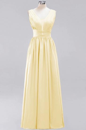 Modest Dark Green Long Bridesmaid Dress Deep V-Neck Chiffon Maid of Honor Dress_18