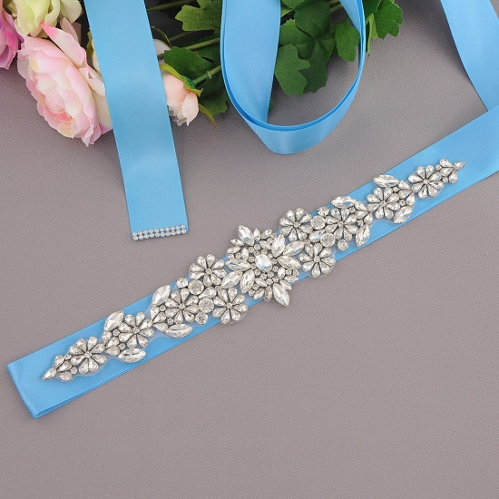 BMbridal Satin Flowers Pattern Wedding Sash with Pearls_11