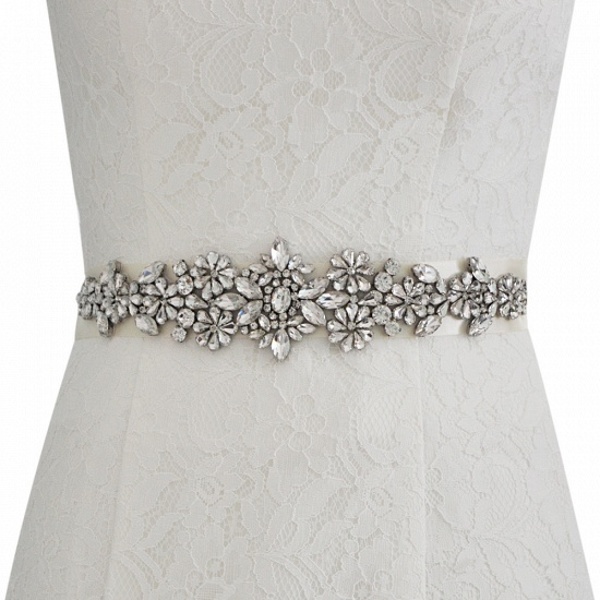 BMbridal Satin Flowers Pattern Wedding Sash with Pearls_19