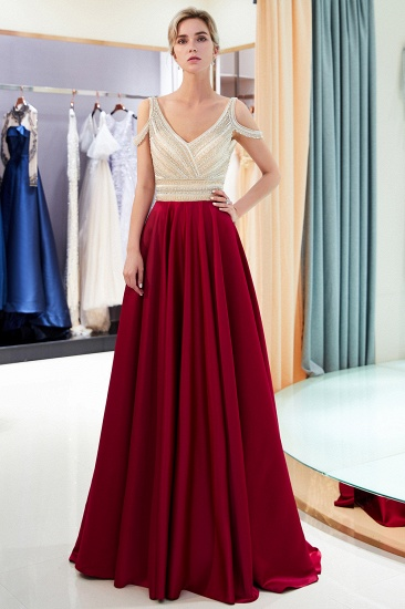 BMbridal Elegant V-neck Sleeveless Burgundy Prom Dresses A-line Crystal Beading Evening Dresses On Sale_1
