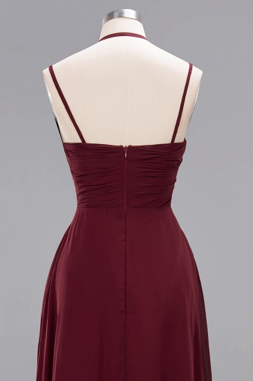 BMbridal Affordable Chiffon Burgundy Bridesmaid Dress With Spaghetti Straps_59