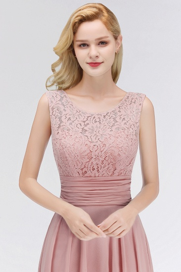 BMbridal Elegant Lace Jewel Sleeveless Dusty Rose Bridesmaid Dress Online_5