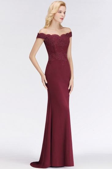 Elegant Mermaid Off-the-Shoulder Burgundy Bridesmaid Dresses with Lace_12