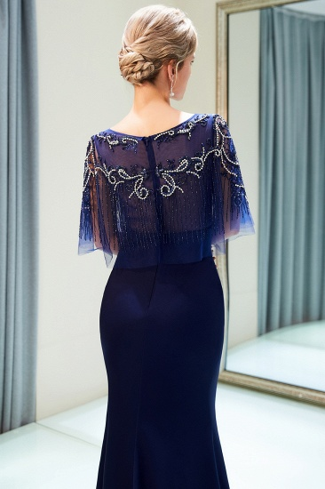 BMbridal Gorgeous Mermaid Jewel Long Prom Dresses Navy Beading Formal Dresses with Crystals_8