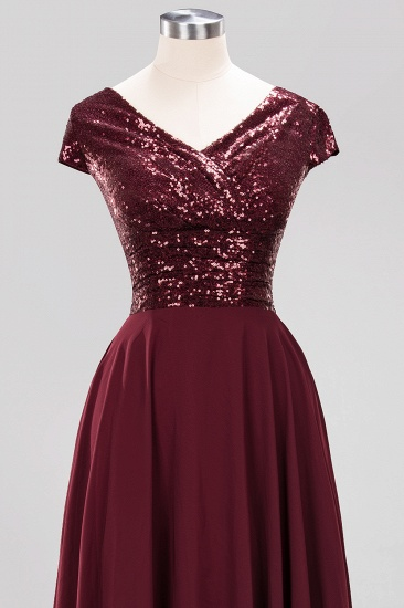 BMbridal Chic Sequined Top V-Neck Sleeveless Burgundy Bridesmaid Dresses Online_13