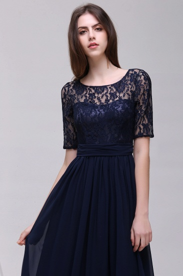 Affordable Lace Scoop Dark Navy Bridesmaid Dresses with Half-Sleeves_4