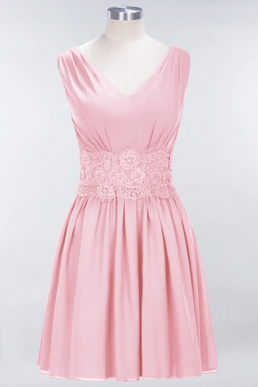 Pretty V-Neck Short Sleeveless Lace Bridesmaid Dresses Online_4