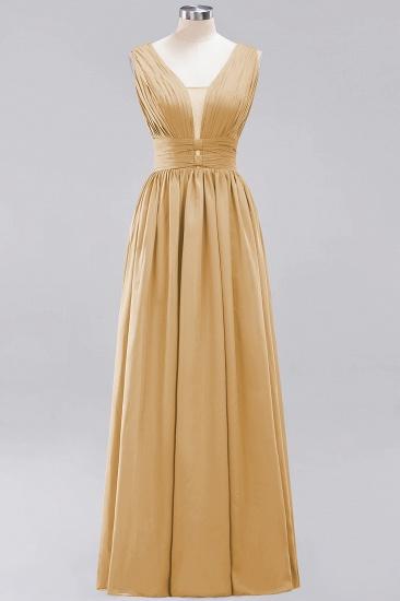 Modest Dark Green Long Bridesmaid Dress Deep V-Neck Chiffon Maid of Honor Dress_13