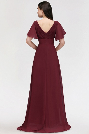Affordable V-Neck Ruffle Long Burgundy Bridesmaid Dress With Short-Sleeves_3