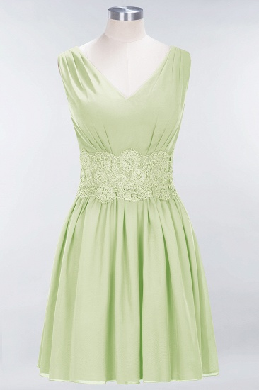 Pretty V-Neck Short Sleeveless Lace Bridesmaid Dresses Online_35
