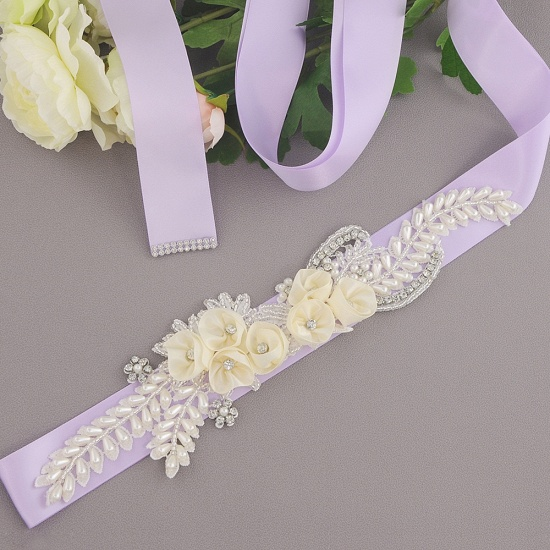BMbridal Handmade Flower Pearl Wedding Sash with Beadings_9