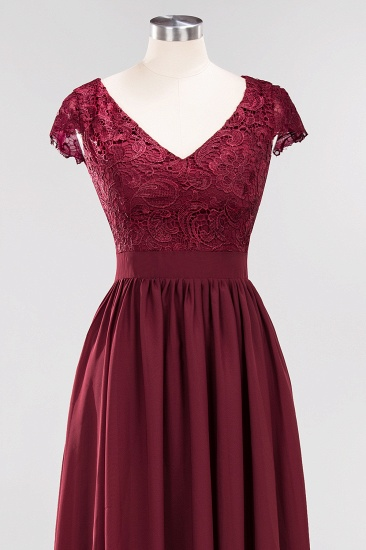 BMbridal Elegant Lace Open-Back Long Burgundy Bridesmaid Dresses Online_7