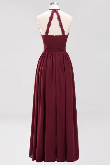 Elegant High-Neck Halter Long Affordable Bridesmaid Dresses with Ruffles_63