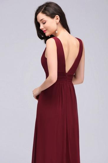 Modest Burgundy V-Neck Sleeveless Long Bridesmaid Dresses Cheap_6