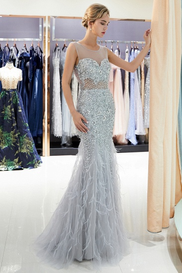 BMbridal Chic Mermaid Sleeveless Prom Dresses Illusion Neckline Crystal Sqeuined Tulle Evening Dresses_5