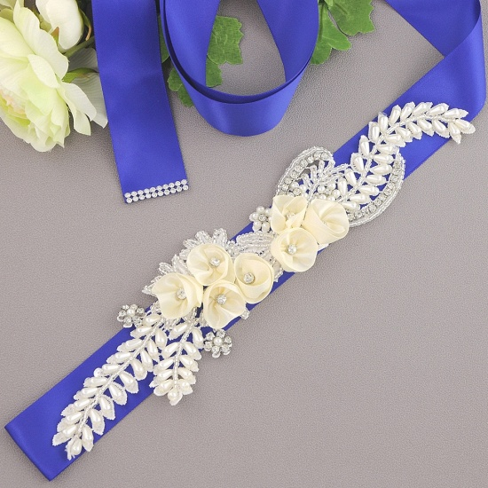 BMbridal Handmade Flower Pearl Wedding Sash with Beadings_11