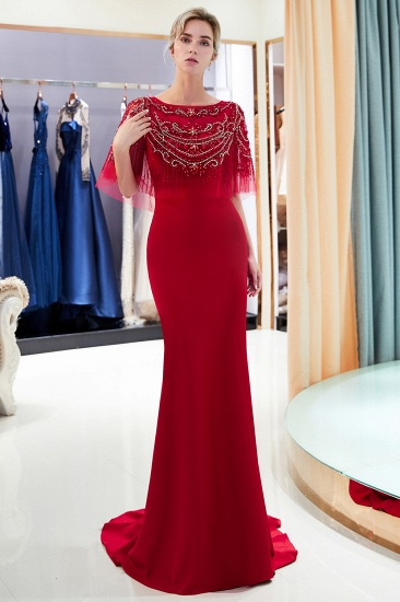 BMbridal Gorgeous Mermaid Jewel Long Prom Dresses Navy Beading Formal Dresses with Crystals_13