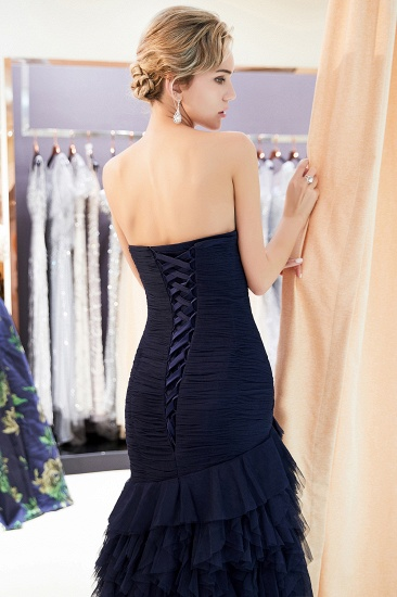 BMbridal Elegant Mermaid Sweetheart Strapless Prom Dresses Draped Tulle Long Evening Dresses On Sale_8