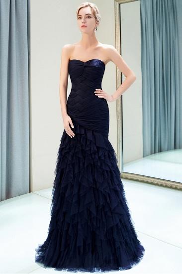 BMbridal Elegant Mermaid Sweetheart Strapless Prom Dresses Draped Tulle Long Evening Dresses On Sale_1