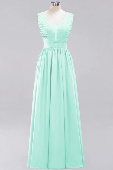 Modest Dark Green Long Bridesmaid Dress Deep V-Neck Chiffon Maid of Honor Dress_36