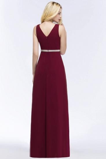 BMbridal Chiffon Burgundy Long Affordable Bridesmaid Dress With Beading Sash_3