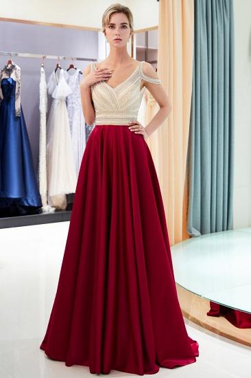 BMbridal Elegant V-neck Sleeveless Burgundy Prom Dresses A-line Crystal Beading Evening Dresses On Sale_5
