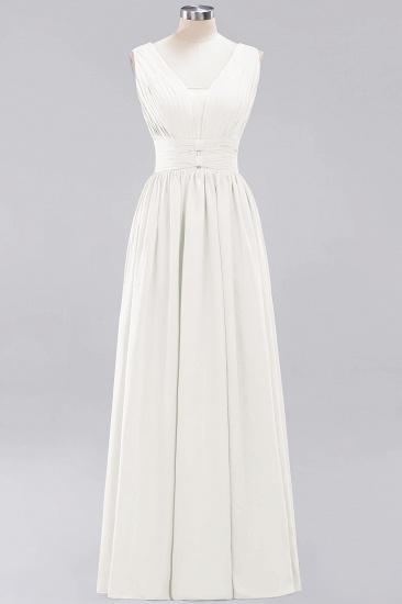 Modest Dark Green Long Bridesmaid Dress Deep V-Neck Chiffon Maid of Honor Dress_2