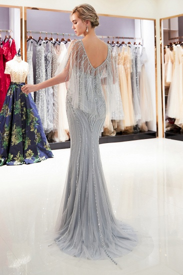 Affordable Mermaid Sweetheart Prom Dresses Illusion Neckline Sequins Beading Evening Dresses_4