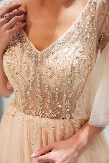 Chic V-neck Rhinestones Prom Dresses Tulle Evening Gowns with Short Sleeves Online_7