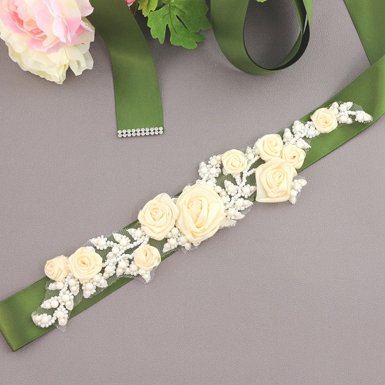Elegant Satin Flowers Wedding Sash with Beadings_16