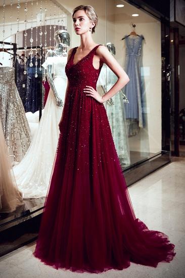 BMbridal Burgundy V-Neck Sequins Beadings Prom Dress Long Tulle Evening Gowns_4