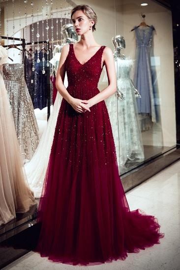BMbridal Burgundy V-Neck Sequins Beadings Prom Dress Long Tulle Evening Gowns_5
