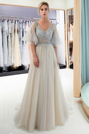 Chic V-neck Rhinestones Prom Dresses Tulle Evening Gowns with Short Sleeves Online_2