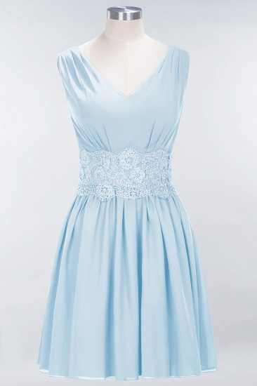 Pretty V-Neck Short Sleeveless Lace Bridesmaid Dresses Online_23