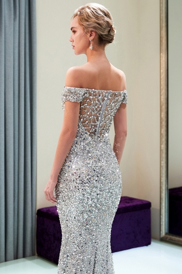 BMbridal Affrodable Mermaid Off-the-shoulder Prom Dresses Long Sequins Silver Evening Gowns Online_8