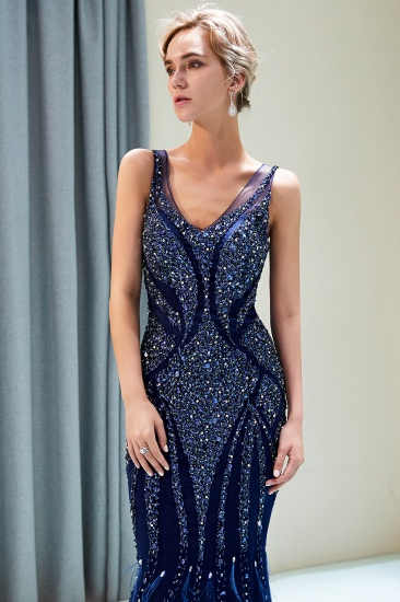 Glamorous Mermaid V-Neck Prom Dresses Sleeveless Long Evening Gowns with Rhinestones_10