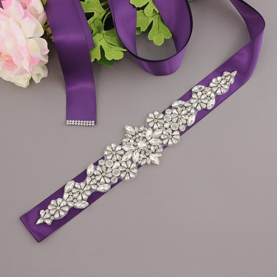 BMbridal Satin Flowers Pattern Wedding Sash with Pearls_9