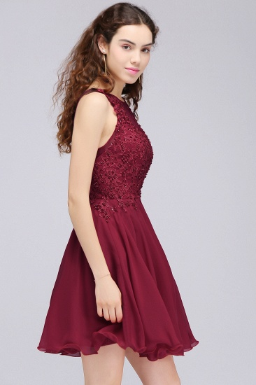 BMbridal Lovely Lace Short Burgundy Bridesmaid Dress with Appliques_4