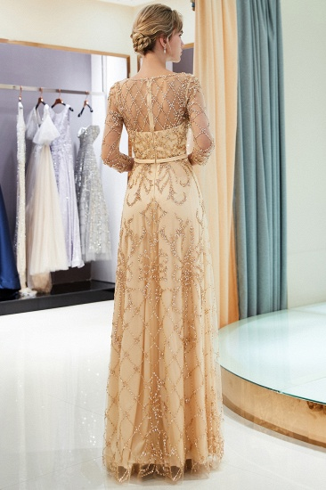 Affordable A-line Illusion Neckline Prom Dresses Long Beading Evening Dresses with Sleeves_22