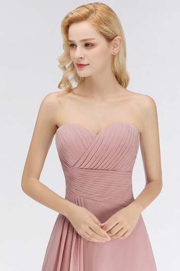 BMbridal Gorgeous Sweetheart Ruched Long Bridesmaid Dress Dusty Rose Chiffon Strapless Maid of Honor Dress_6