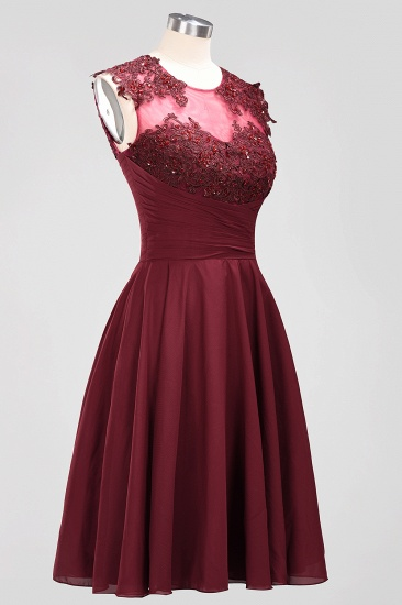 Cute Chiffon Round Neck Short Burgundy Bridesmaid Dresses with Appliques_55