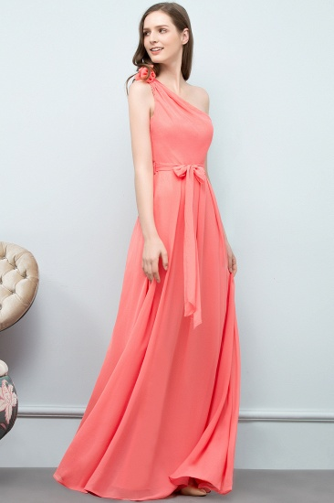Chic One Shoulder Flower Long Bridesmaid Dresses with Bow Sash_4