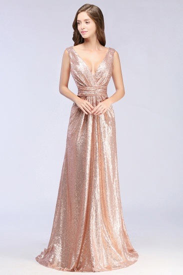 Sparkly Sequined V-Neck Sleeveless Bridesmaid Dress Online_1