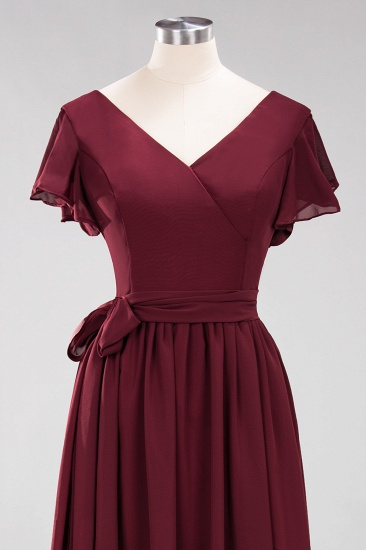 Burgundy V-Neck Long Bridesmaid Dress With Short-Sleeves_61