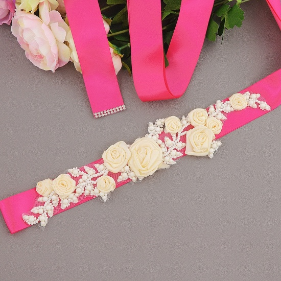 Elegant Satin Flowers Wedding Sash with Beadings_4